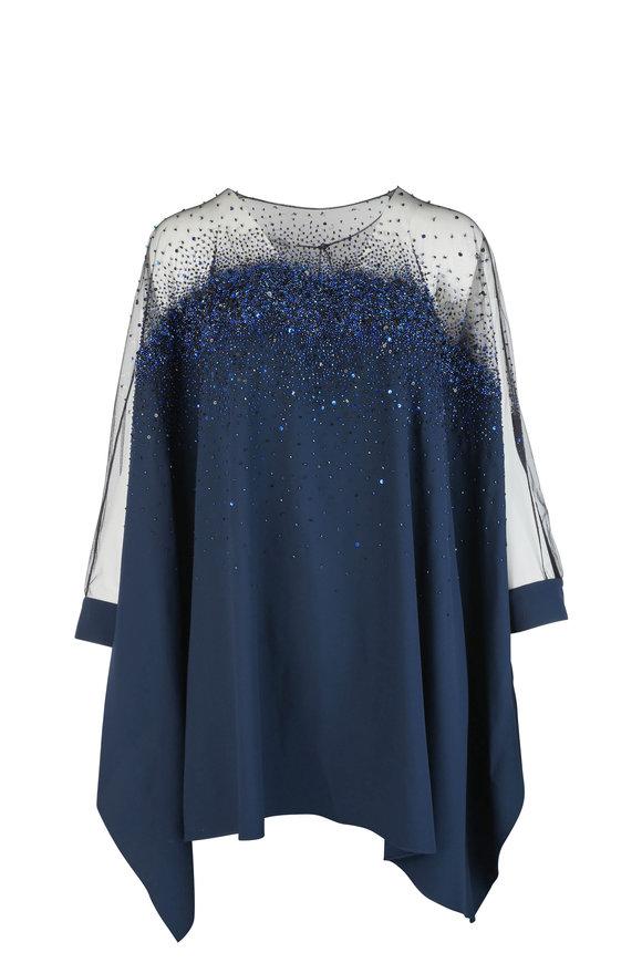 Oscar de la Renta Navy Blue Sequined Silk Blend Blouse