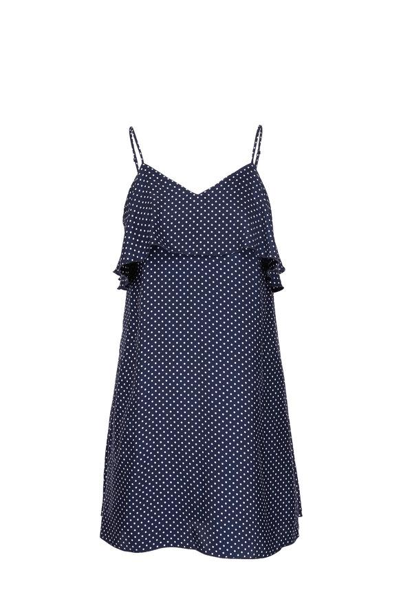 A T M Midnight Blue Silk Polka Dot Dress