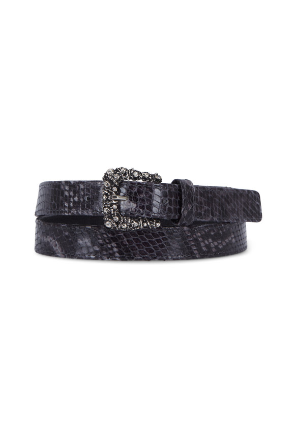 Suzi Roher Dark Gray Snake Embossed Leather Belt