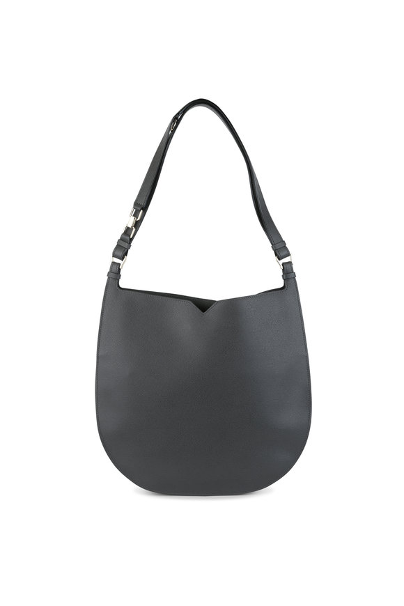 Valextra Weekend Grande Dark Gray Leather Hobo Bag