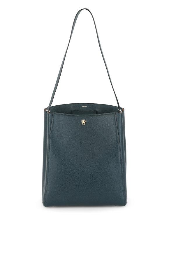 Valextra Brera Green Grained Leather Shoulder Bag