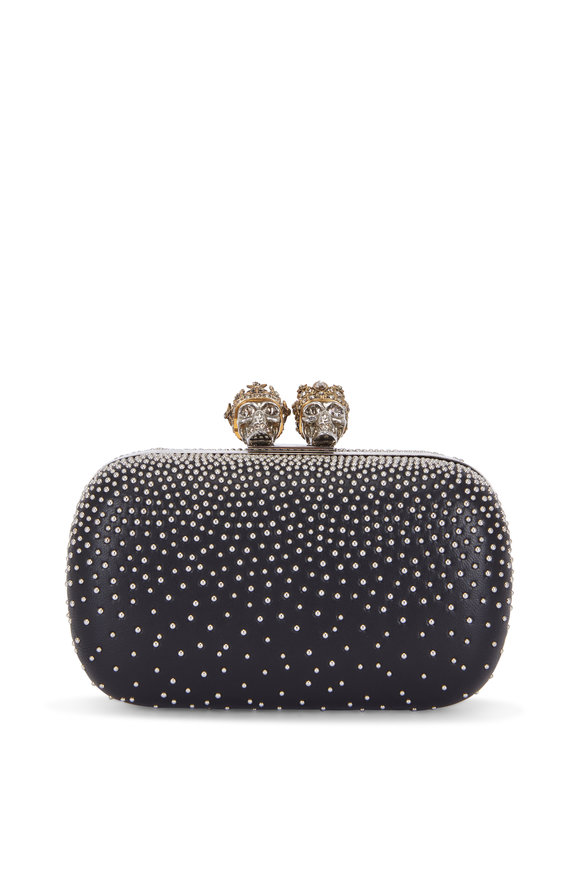 Alexander McQueen Black Leather Studded King & Queen Clutch