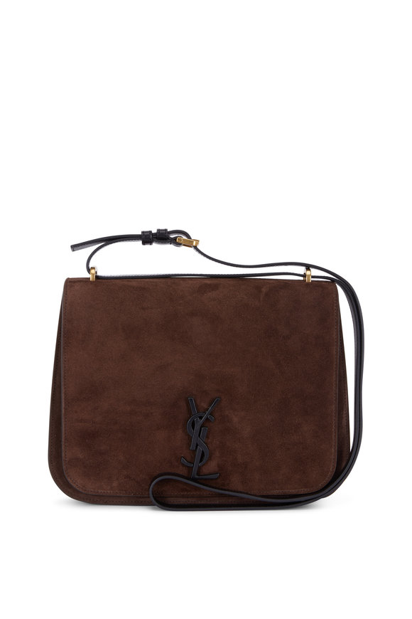 Saint Laurent Spontini Dark Brown Monogram Satchel Bag