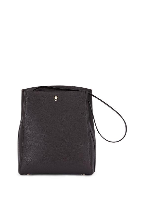 Valextra Brera Dark Brown Grained Leather Shoulder Bag