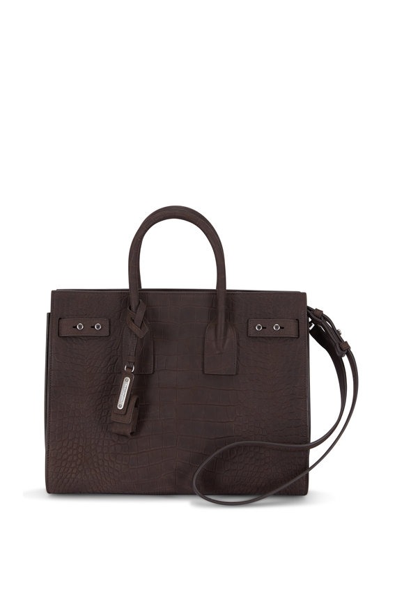 Saint Laurent Sac De Jour Brown Croc Embossed Nubuck Small Tote