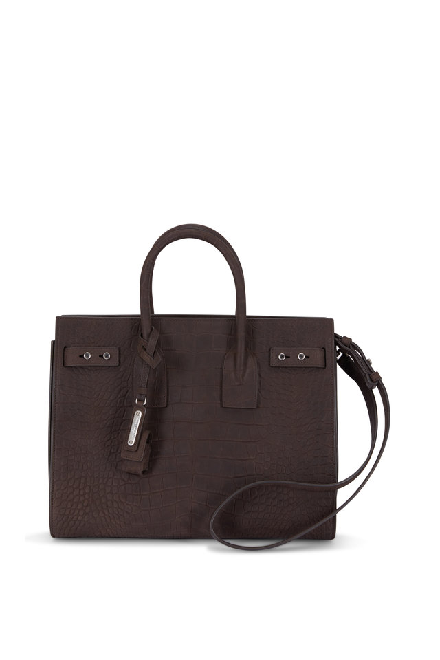 Sac De Jour Brown Croc Embossed Nubuck Small Tote