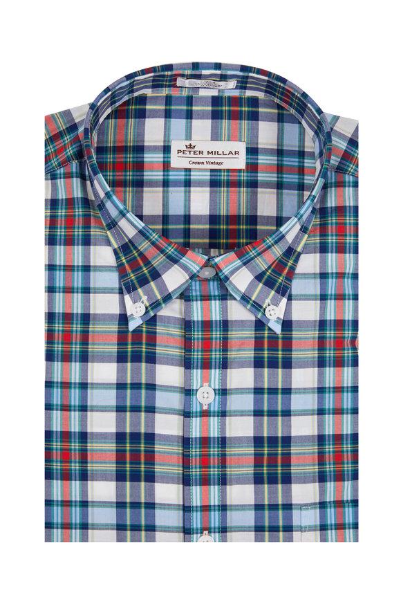 Peter Millar Crown Vintage Navy Blue Tartan Plaid Sport Shirt