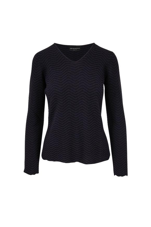 Emporio Armani Black Chevron Knit Sweater