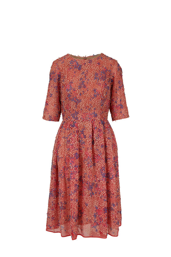 Carolina Herrera Orange & Pink Leaf Embroidery Elbow Sleeve Dress
