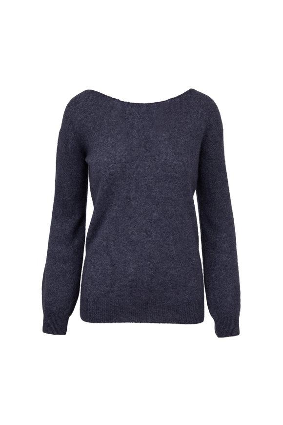 Adam Lippes Indigo Cashmere & Silk Deep Tie Back Sweater
