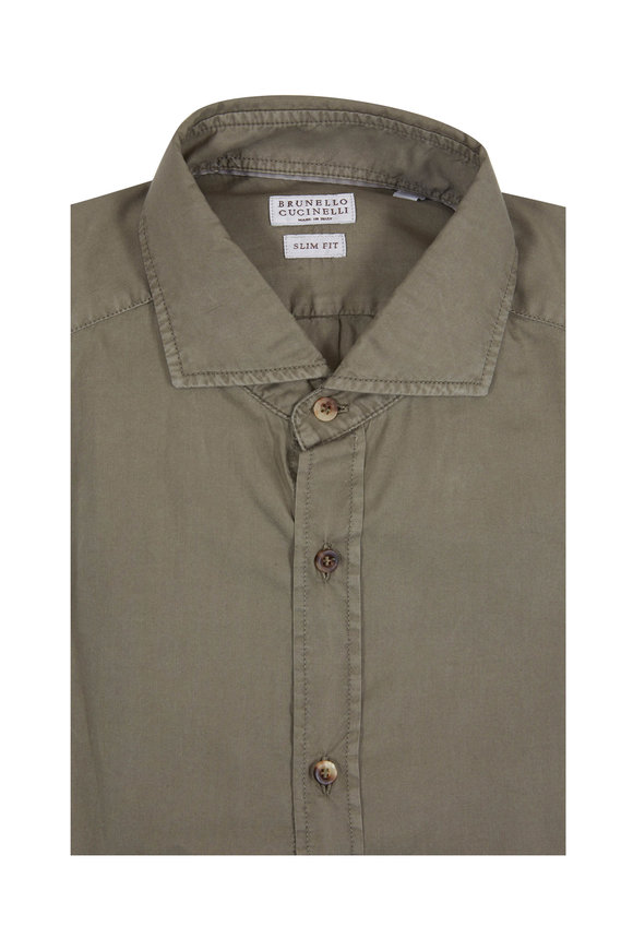 Brunello Cucinelli Olive Green Slim Fit Sport Shirt