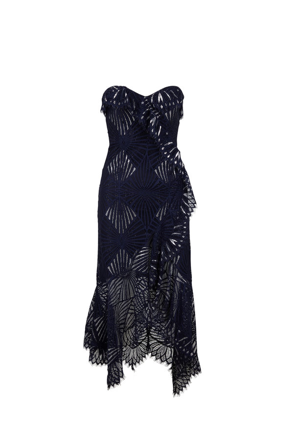 Jonathan Simkhai Midnight Blue Sheer Metallic Tank Dress