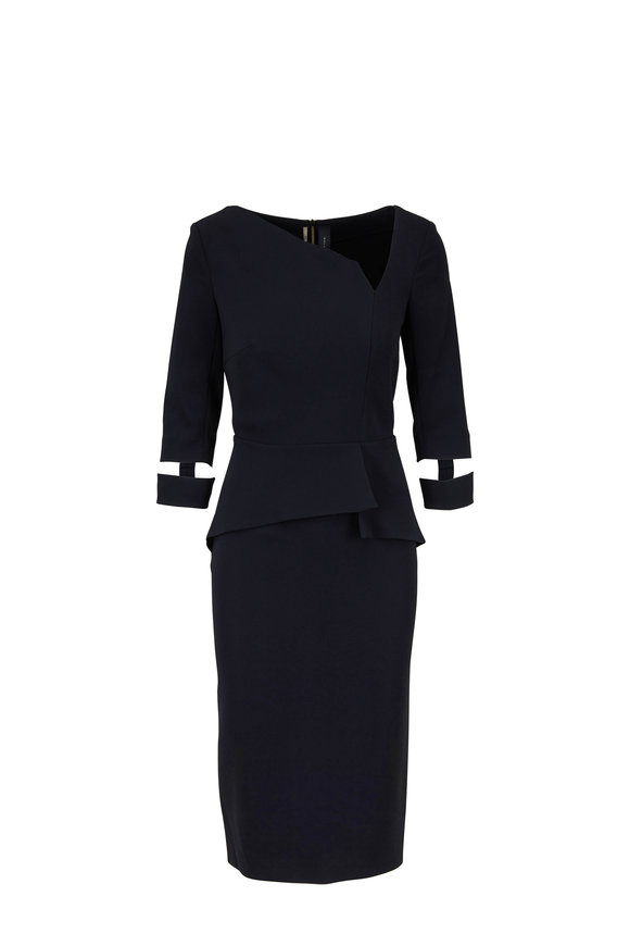 Roland Mouret Dunne Black Stretch Viscose Split Cuff Dress