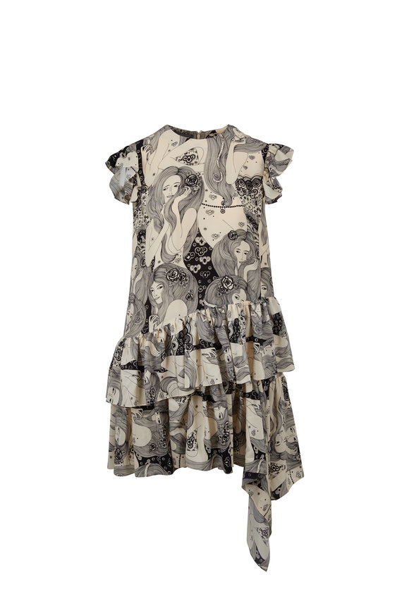 Alexander McQueen Cream Print Ruffled Asymmetric Hem Dress
