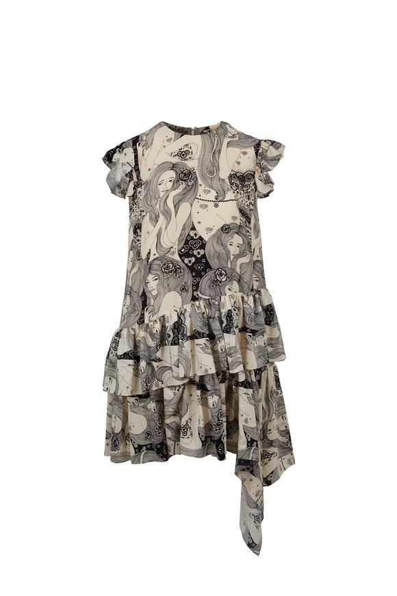 Alexander McQueen Cream Print Ruffled Asymmetric Hem Dress