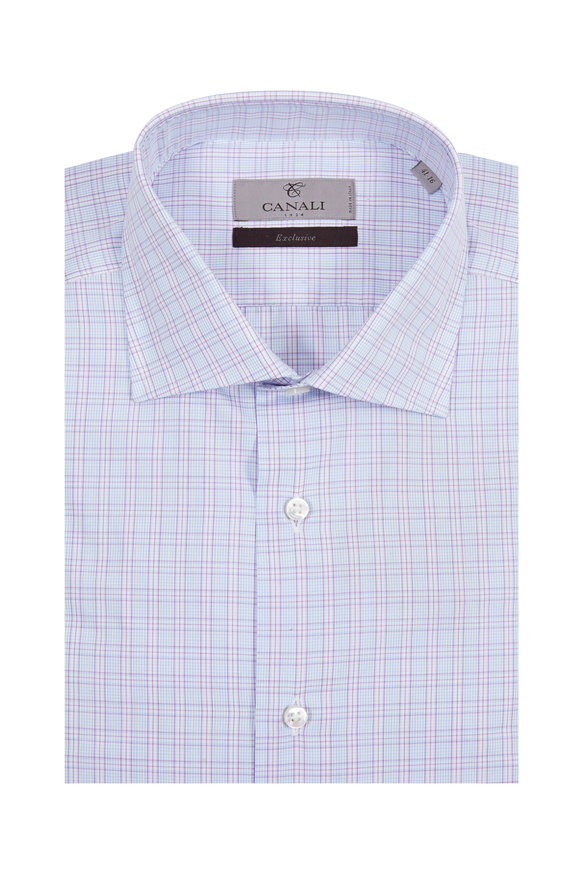Canali Purple & Light Blue Plaid Modern Fit Dress Shirt