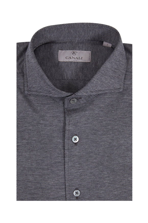 Canali Charcoal Gray Patterned Modern Fit Sport Shirt