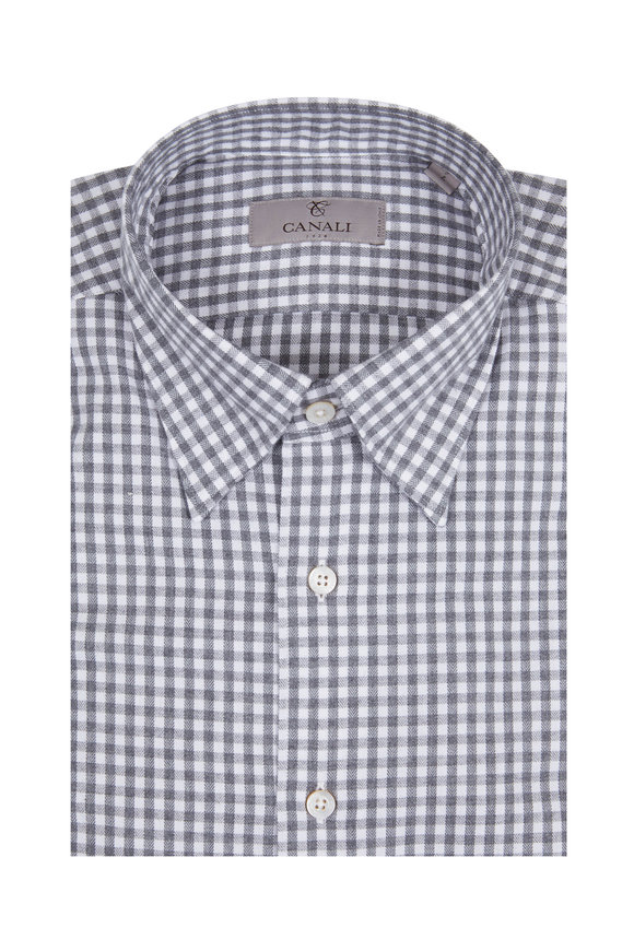 Canali Gray Gingham Modern Fit Sport Shirt