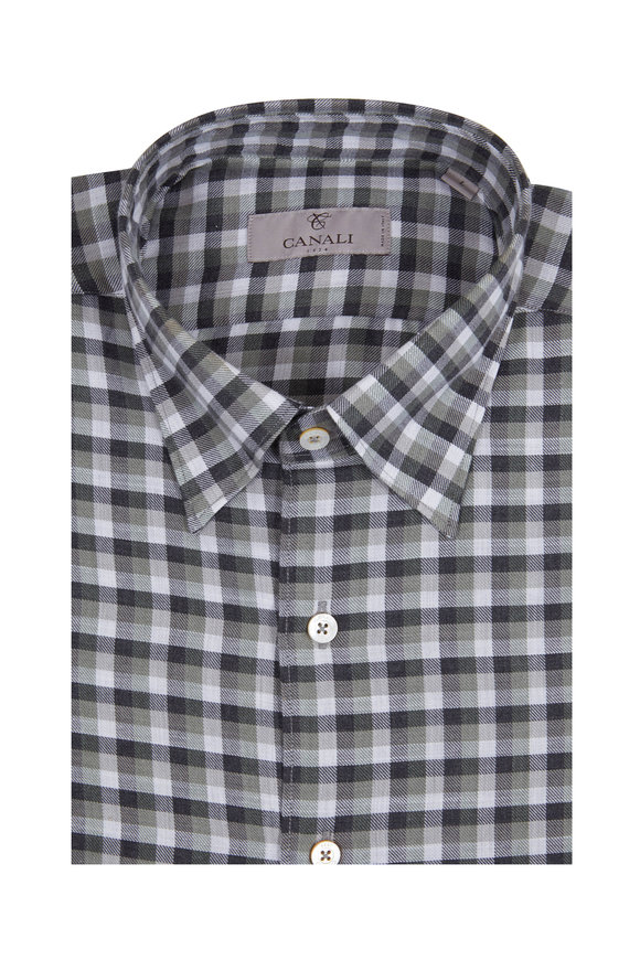 Canali Olive Green & Gray Plaid Modern Fit Sport Shirt