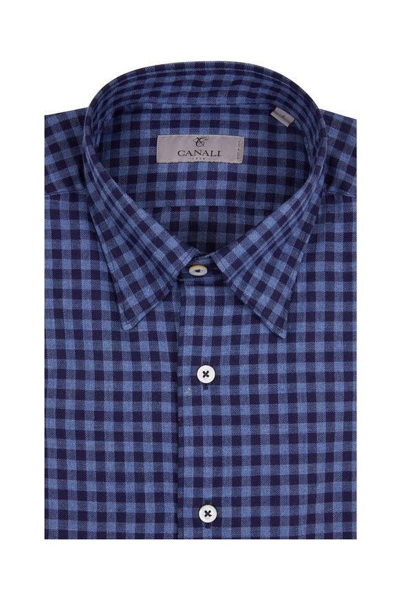 Canali Navy Blue Gingham Modern Fit Sport Shirt