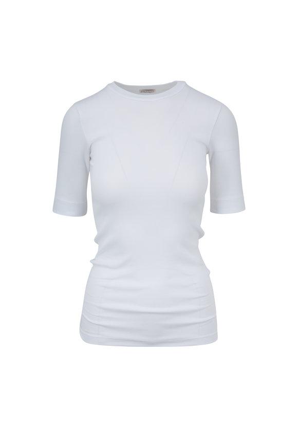 Brunello Cucinelli White Stretch Cotton Ribbed T-Shirt