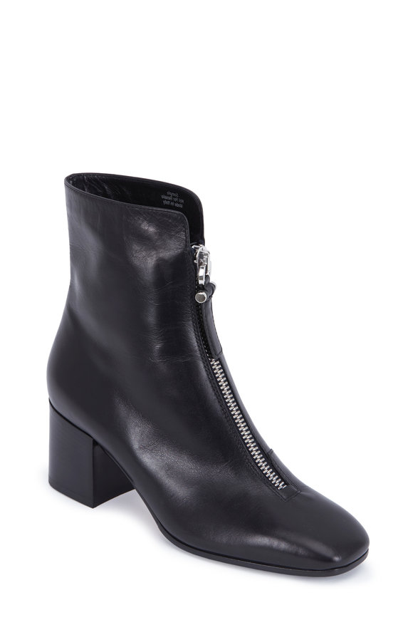 Aquatalia Camden Black Nappa Leather Zip-Front Boot, 60mm