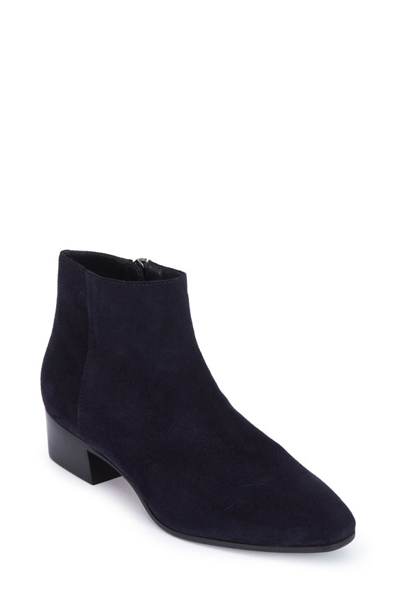 Aquatalia Fuoco Navy Blue Suede Ankle Boot, 40mm