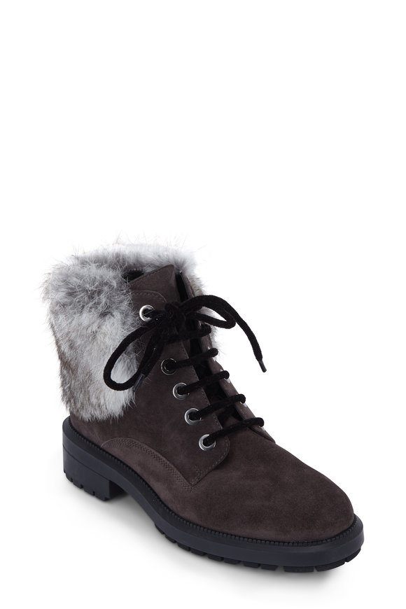 Aquatalia Lacy Gray Suede & Fur Lace-Up Bootie