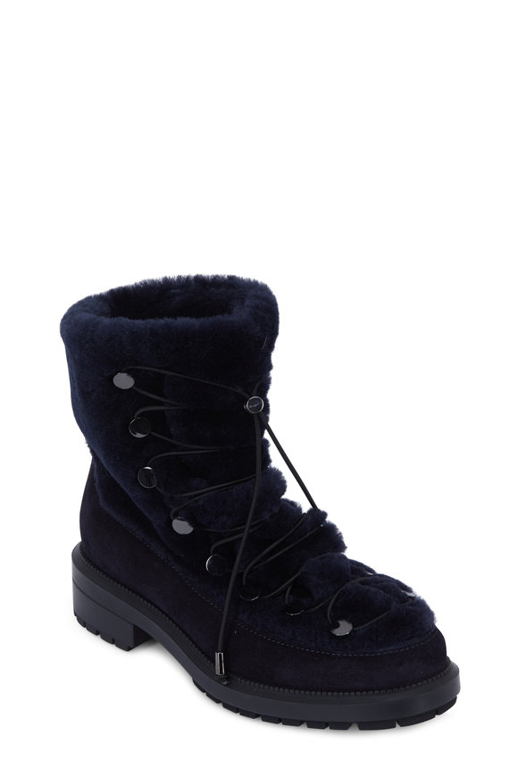 Aquatalia Lorena Navy Blue Suede & Shearling Lace-Up Bootie