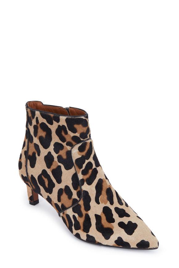 Aquatalia Marilisa Leopard Print Calf Hair Bootie, 50mm