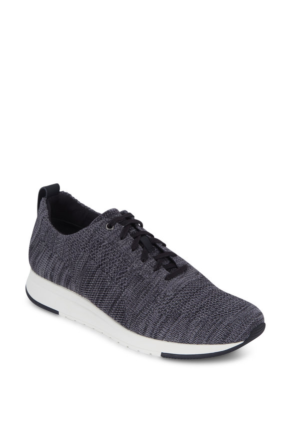 Vince Palo Gray Melange Textured Knit Sneaker