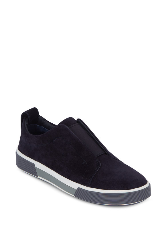 Vince Ranger Navy Blue Suede Slip-On Sneaker