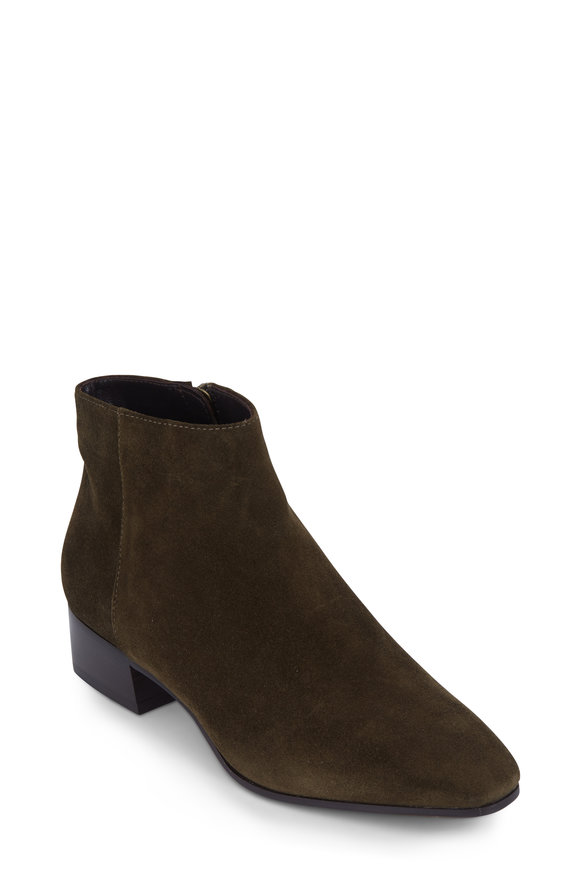 Aquatalia  Fuoco Herb Green Suede Ankle Boot, 40mm