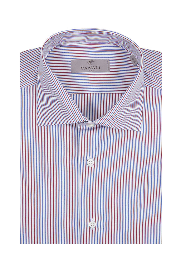 Canali Red & Blue Striped Modern Fit Dress Shirt