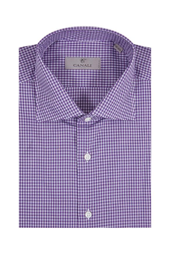 Canali Purple Check Modern Fit Dress Shirt
