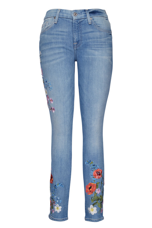 7 For All Mankind Floral Embroidered Ankle Skinny Jean