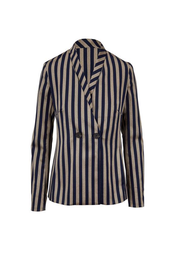 Jonathan Simkhai Midnight & Khaki Striped Cutout Blazer