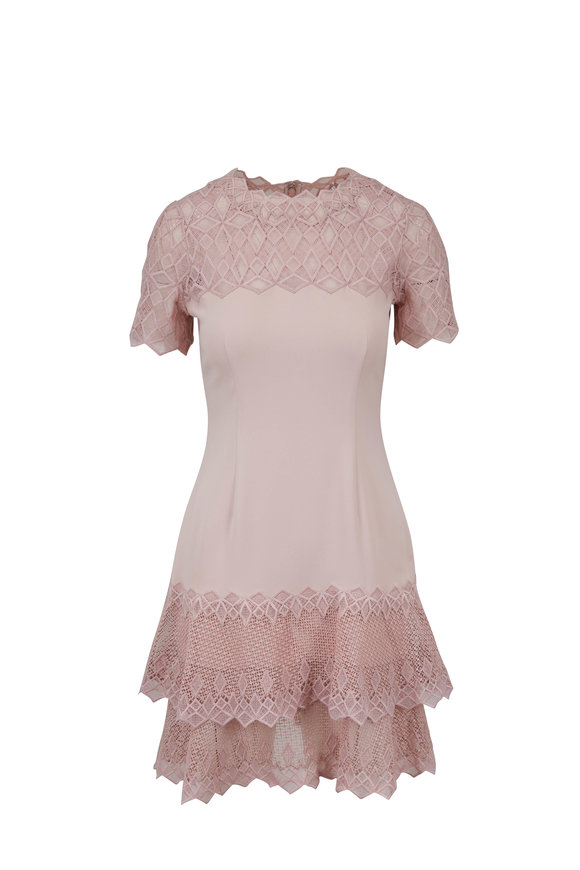 Jonathan Simkhai Petal Pink Diamond Crepê Short Sleeve Dress