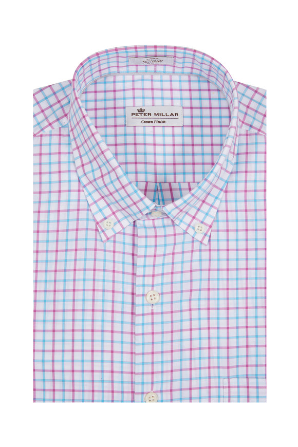 Peter Millar Light Pink & Blue Tattersall Sport Shirt