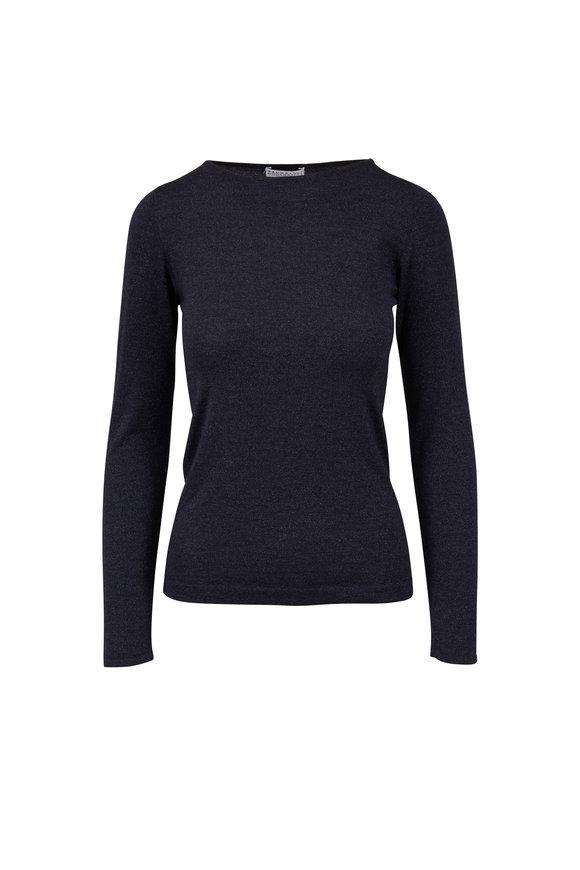 Brunello Cucinelli Navy Blue Cashmere & Silk Lurex Knit Top