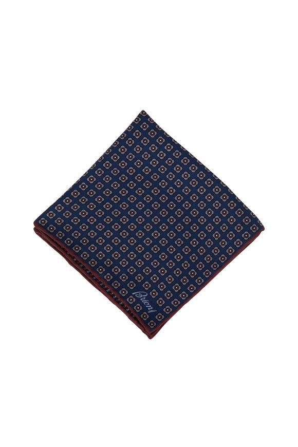 Brioni Navy Blue Geometric Silk Pocket Square