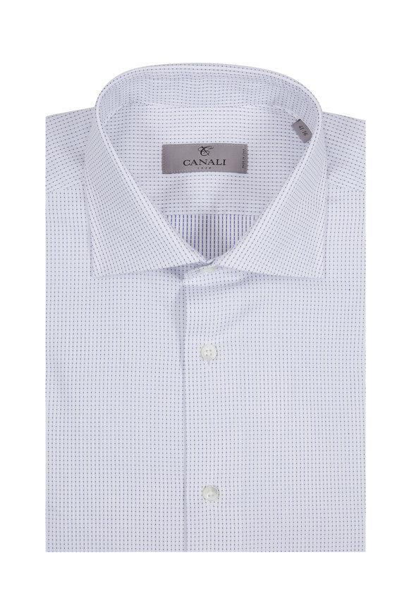 Canali White Pin Dot Modern Fit Dress Shirt