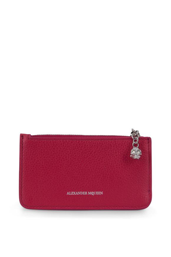 Alexander McQueen Fuchsia Grained Leather Zip Card Case