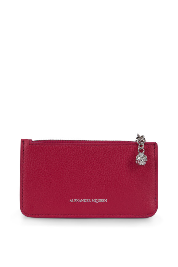 Alexander McQueen Fuchsia Grained Leather Zip Card Case