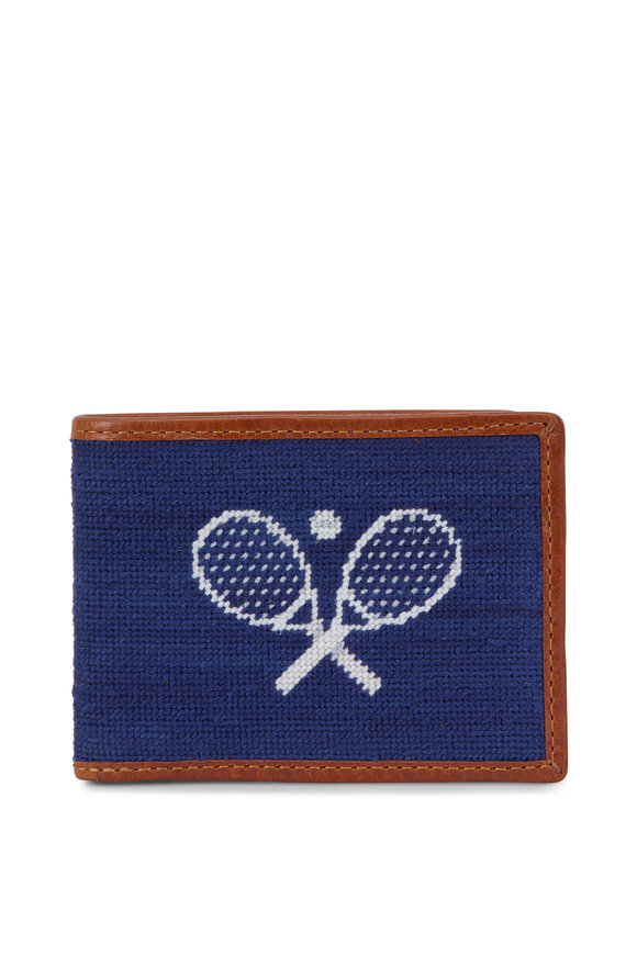 Smathers & Branson Blue Crossed Racquets Needlepoint Bi-Fold Wallet