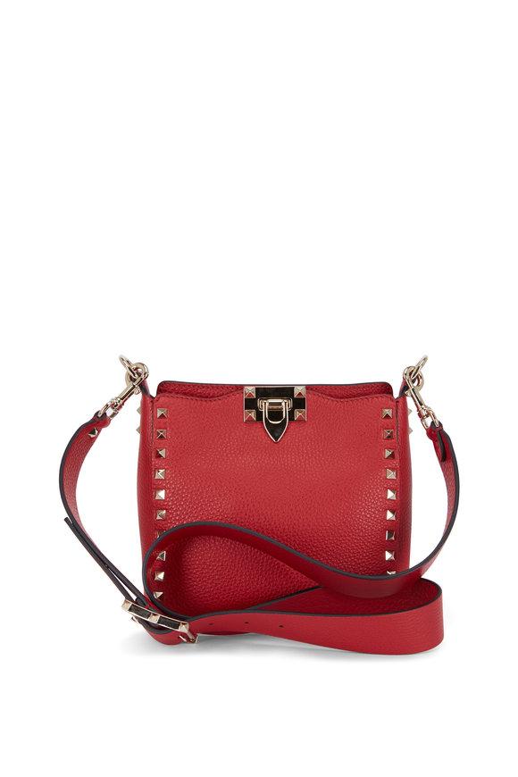 Valentino Garavani Rockstud Red Grained Leather Mini Crossbody
