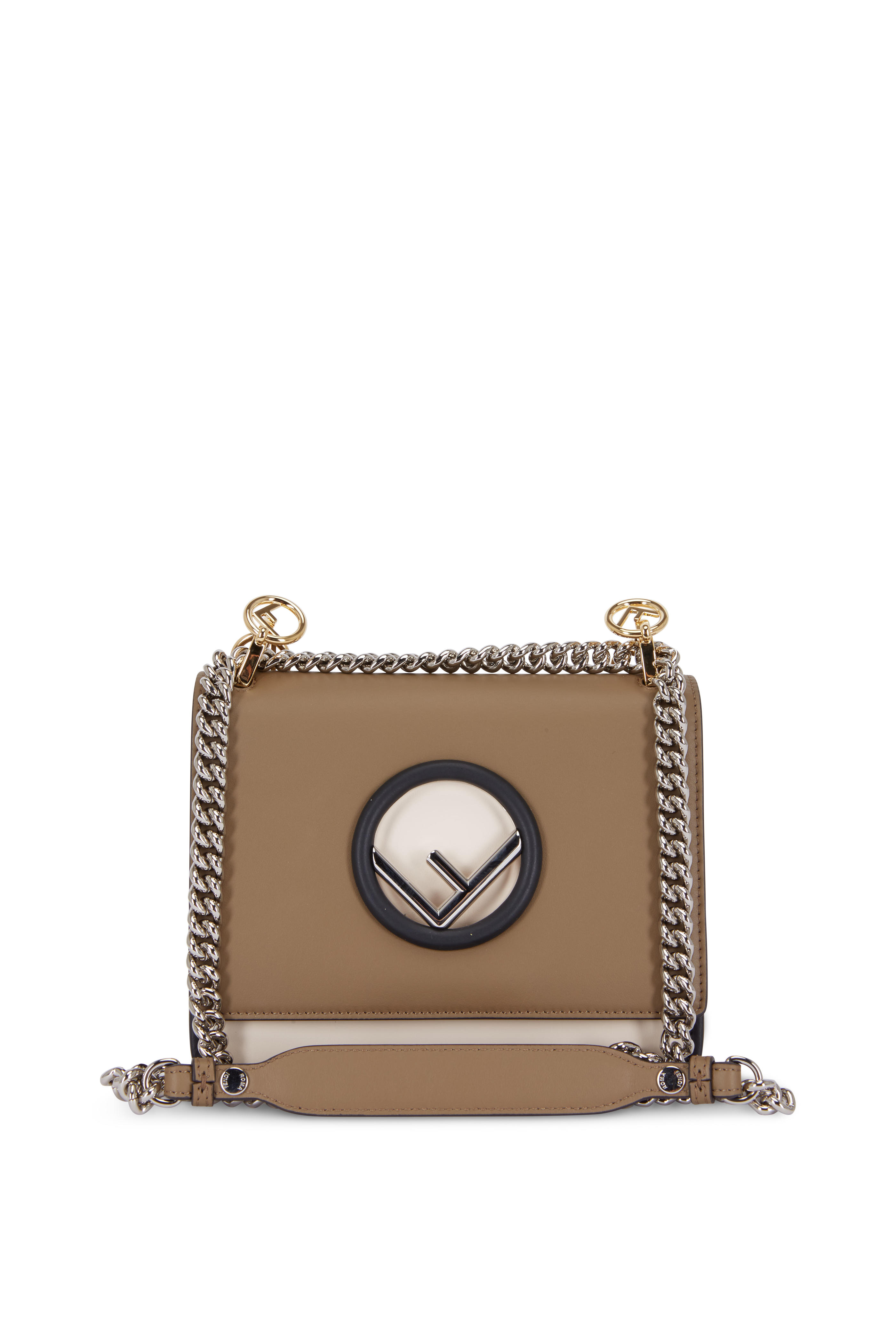 dadcd3db947b Fendi - Kan I Dark Taupe Leather Small Shoulder Bag