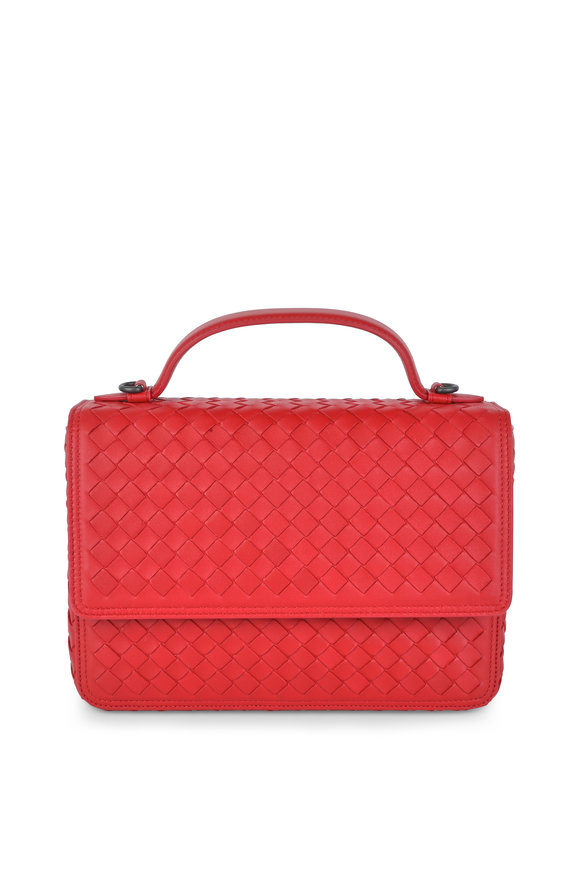 Bottega Veneta Red Leather Intrecciato Shoulder Bag