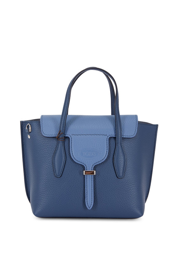 Tod's Manici Bi-Color Blue Leather Mini Shopping Bag