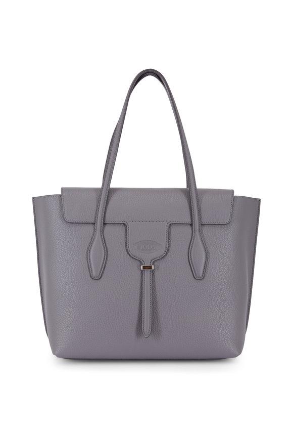Tod's New Joy Dark Gray Leather Medium Tote Bag